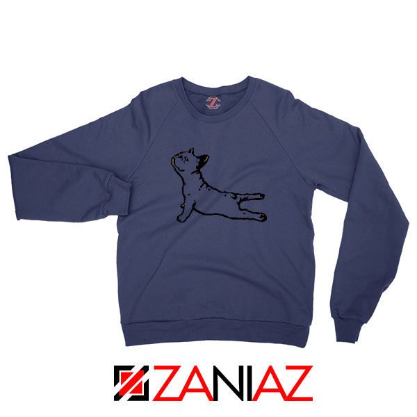 Bulldog Yoga Pose Navy Blue Sweatshirt