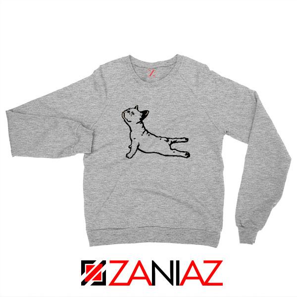 Bulldog Yoga Pose Sport Grey Sweatshirt