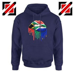 Dripping Lips Flag Navy Blue Hoodie