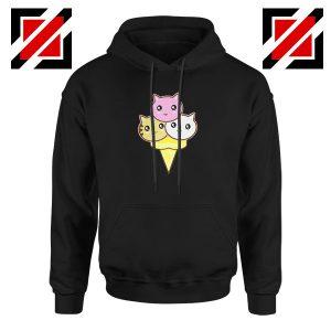 Ice Cream Kitties Black Hoodie