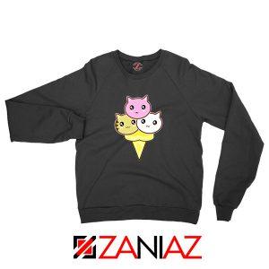 Ice Cream Kitties Blakc Sweatshirt