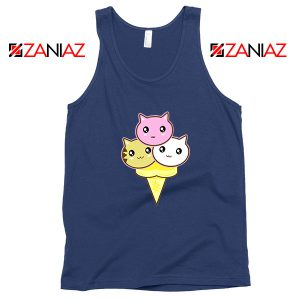 Ice Cream Kitties Navy Blue Tank Top