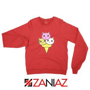 Ice Cream Kitties Red Sweatshirt