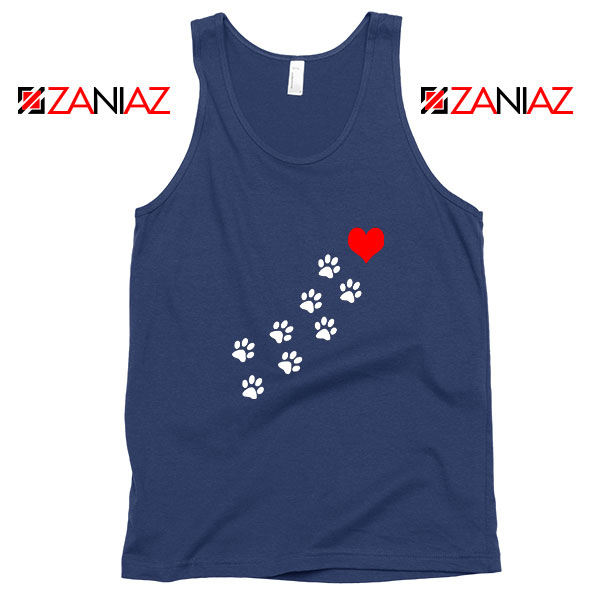 Paws Dogs Heart Navy Blue Tank Top