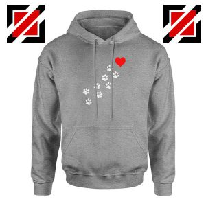 Paws Dogs Heart Sport Grey Hoodie