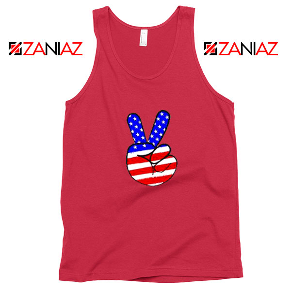 Peace Sign Red Tank Top