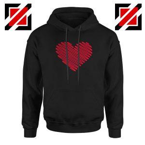 Red Heart Diagonal Black Hoodie