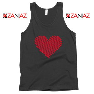 Red Heart Diagonal Black Tank Top