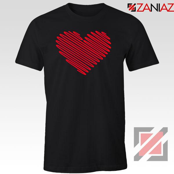 Red Heart Diagonal Black Tshirt