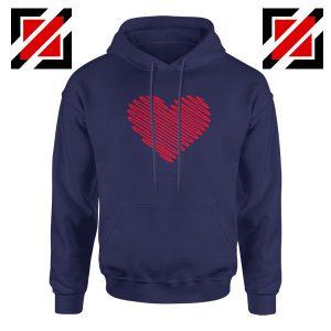 Red Heart Diagonal Navy Blue Hoodie