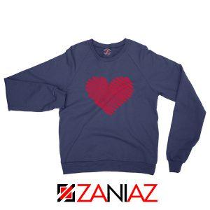 Red Heart Diagonal Navy Blue Sweatshirt