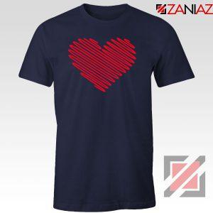 Red Heart Diagonal Navy Blue Tshirt