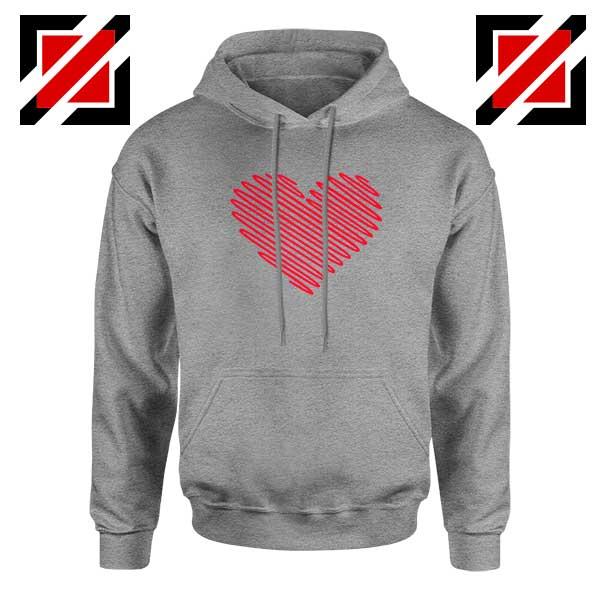 Red Heart Diagonal Sport Grey Hoodie