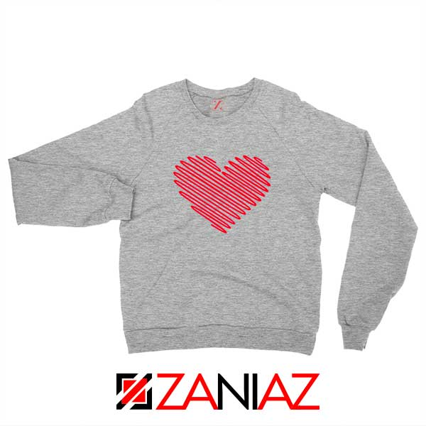 Red Heart Diagonal Sport Grey Sweatshirt