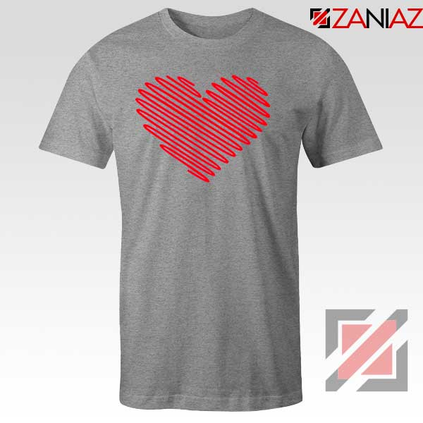 Red Heart Diagonal Sport Grey Tshirt