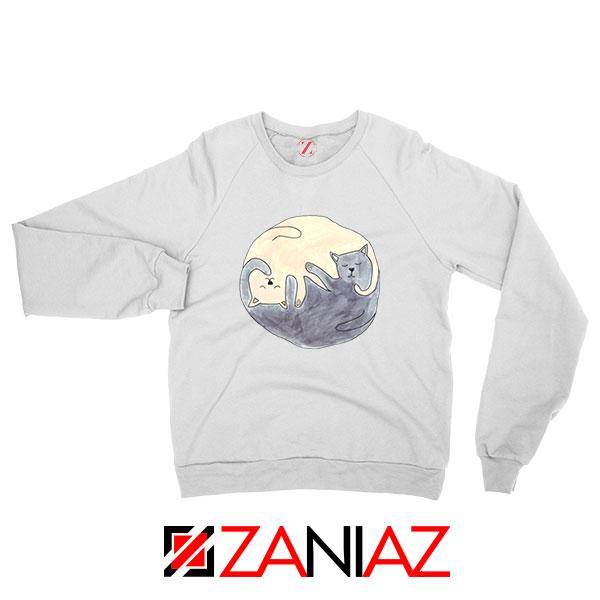 Sleeping Cats White Sweatshirt