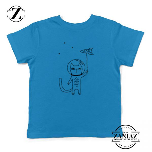 Space Cat Kids Blue Tshirt