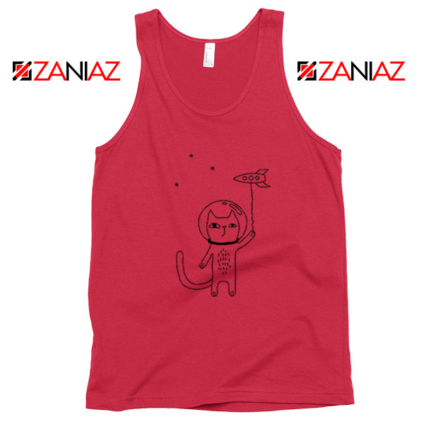 Space Cat Red Tank Top