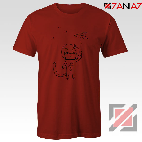 Space Cat Red Tshirt