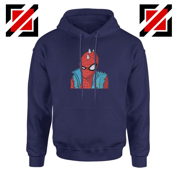 Spider Punk Navy Blue Hoodie