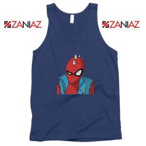 Spider Punk Navy Blue Tank Top
