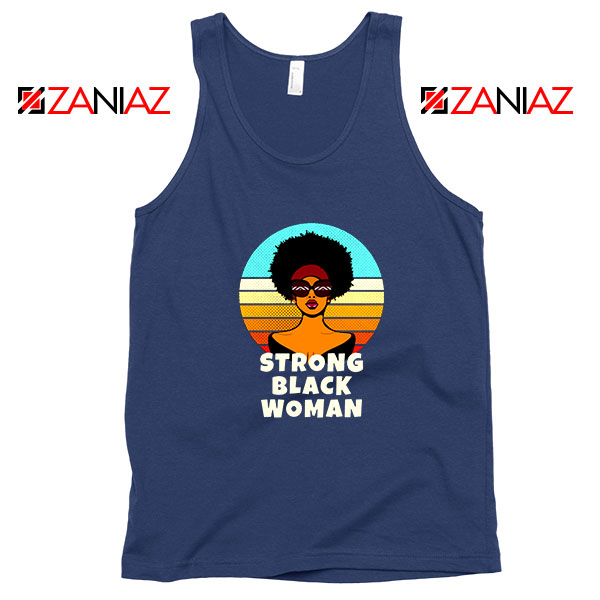 Strong Black Woman Navy Blue Tank Top