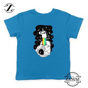 Unicorn In Space Kids Blue Tshirt
