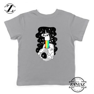 Unicorn In Space Kids Grey Tshirt