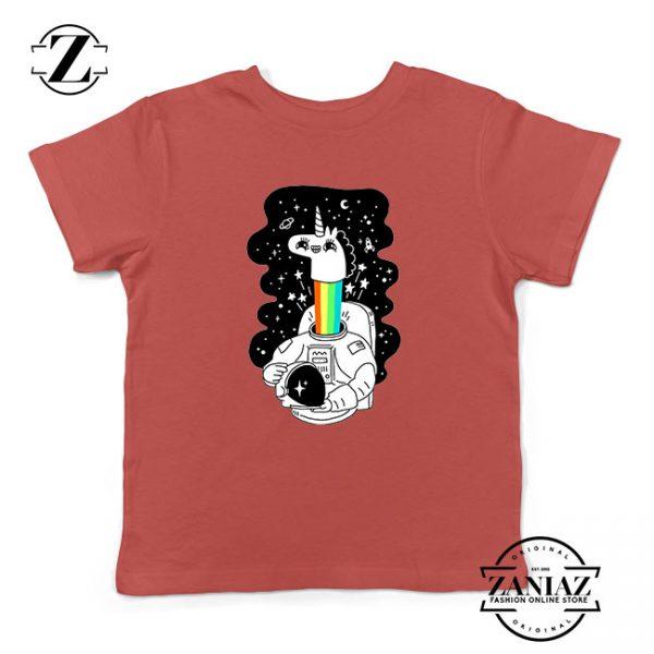 Unicorn In Space Kids Red Tshirt