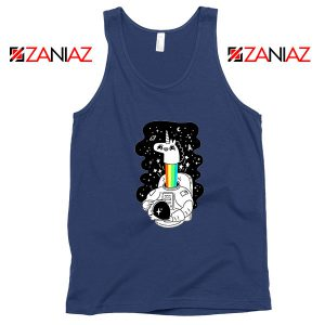 Unicorn In Space Navy Blue Tank Top