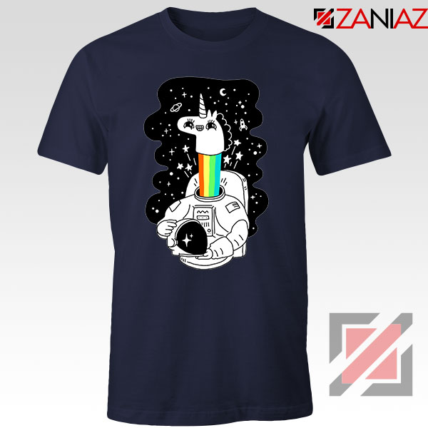 Unicorn In Space Navy Blue Tshirt