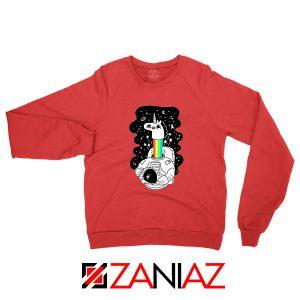 Unicorn In Space Red Sweatshirt