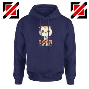 Boba Is Life Navy Blue Hoodie