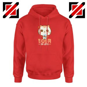 Boba Is Life Red Hoodie