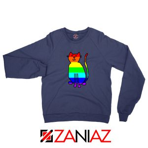 Cat Rainbow Navy Blue Sweatshirt