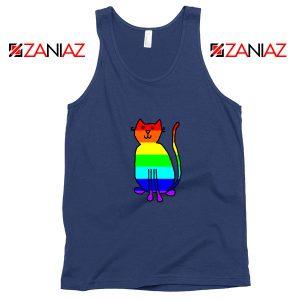 Cat Rainbow Navy Blue Tank Top