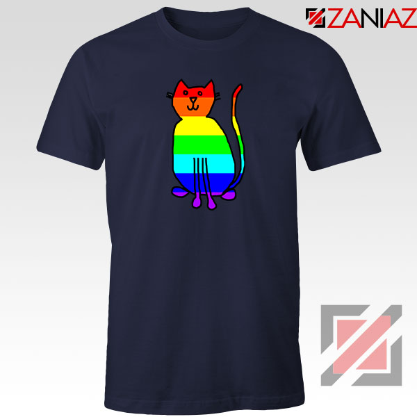 Cat Rainbow Navy Blue Tshirt
