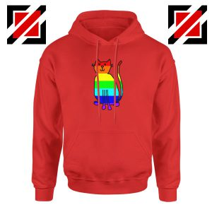 Cat Rainbow Red Hoodie