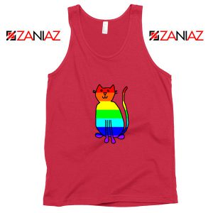 Cat Rainbow Red Tank Top