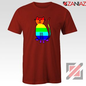 Cat Rainbow Red Tshirt