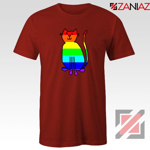 Cat Rainbow Red Tshirt