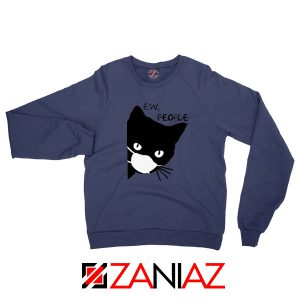 Ew People Cat Face Mask Navy Blue Sweatshirt