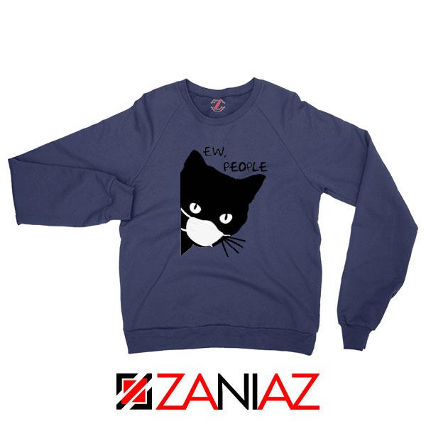 Ew People Cat Face Mask Navy Blue Sweatshirt