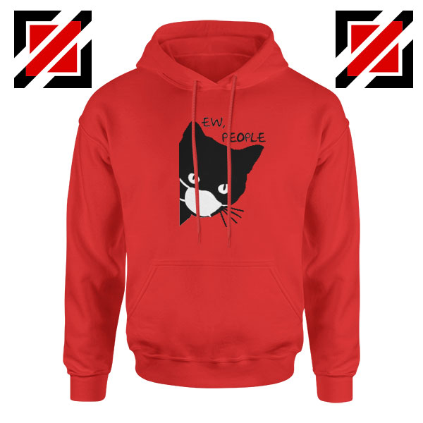 Ew People Cat Face Mask Red Hoodie