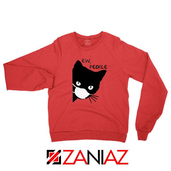 Ew People Cat Face Mask Red Sweatshirt