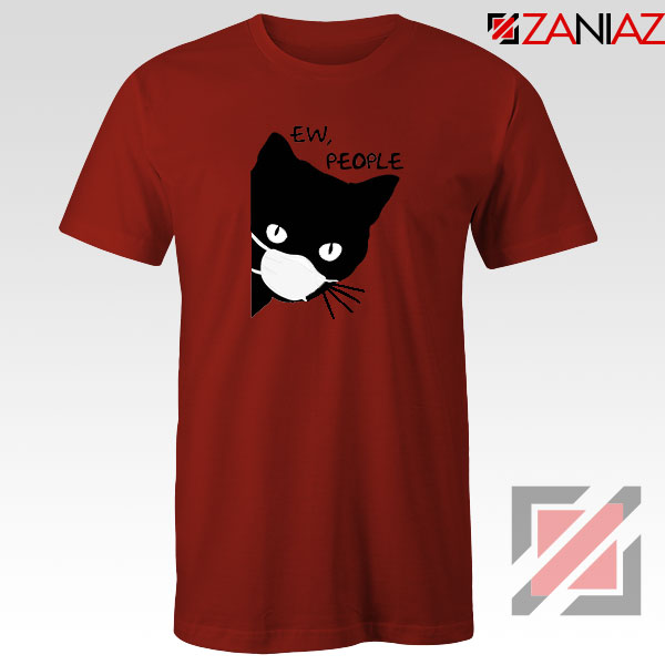 Ew People Cat Face Mask Red Tshirt