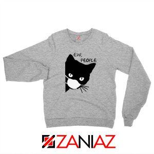 Ew People Cat Face Mask Sport Grey Sweatshirt