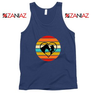 Girl With a Horse Navy Blue Tank Top