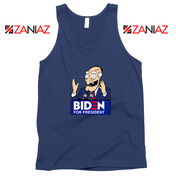 Joe Biden Cartoon Navy Blue Tank Top