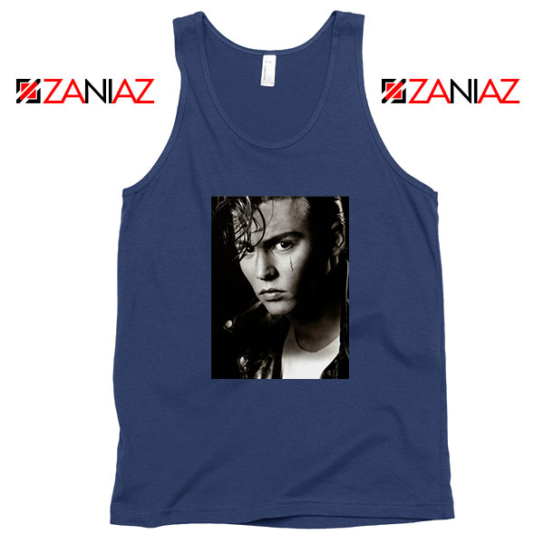 Johnny Depp Cry Baby Navy Blue Tank Top